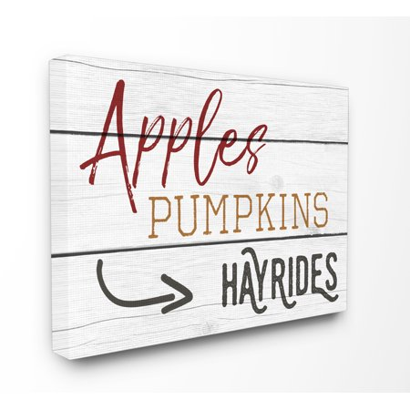 The Stupell Home Decor Collection Apples Pumpkins Hayrides Vintage Sign Oversized Stretched Canvas Wall Art, 24 x 1.5 x 30 - Pumpkin Art