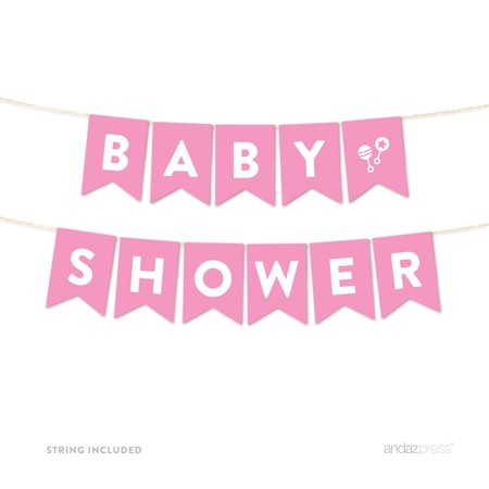 Baby Shower Garland (Baby Shower Pink Girl Baby Shower Hanging Pennant Garland Party)