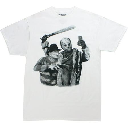 Freddy Krueger Jason Voorhees Selfie Men's White Shirt - Michael Myers Vs Jason Voorhees