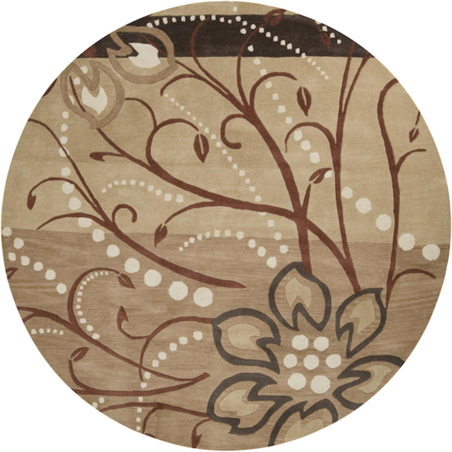 4' Cannonball Tree Golden Brown and Dark Khaki Wool Round Area Throw Rug
