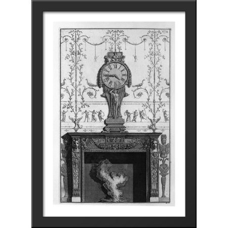 Fireplace Clock (Fireplace In a garland frieze between two eagles above the plane of a clock 28x40 Large Black Wood Framed Print Art by Giovanni Battista)