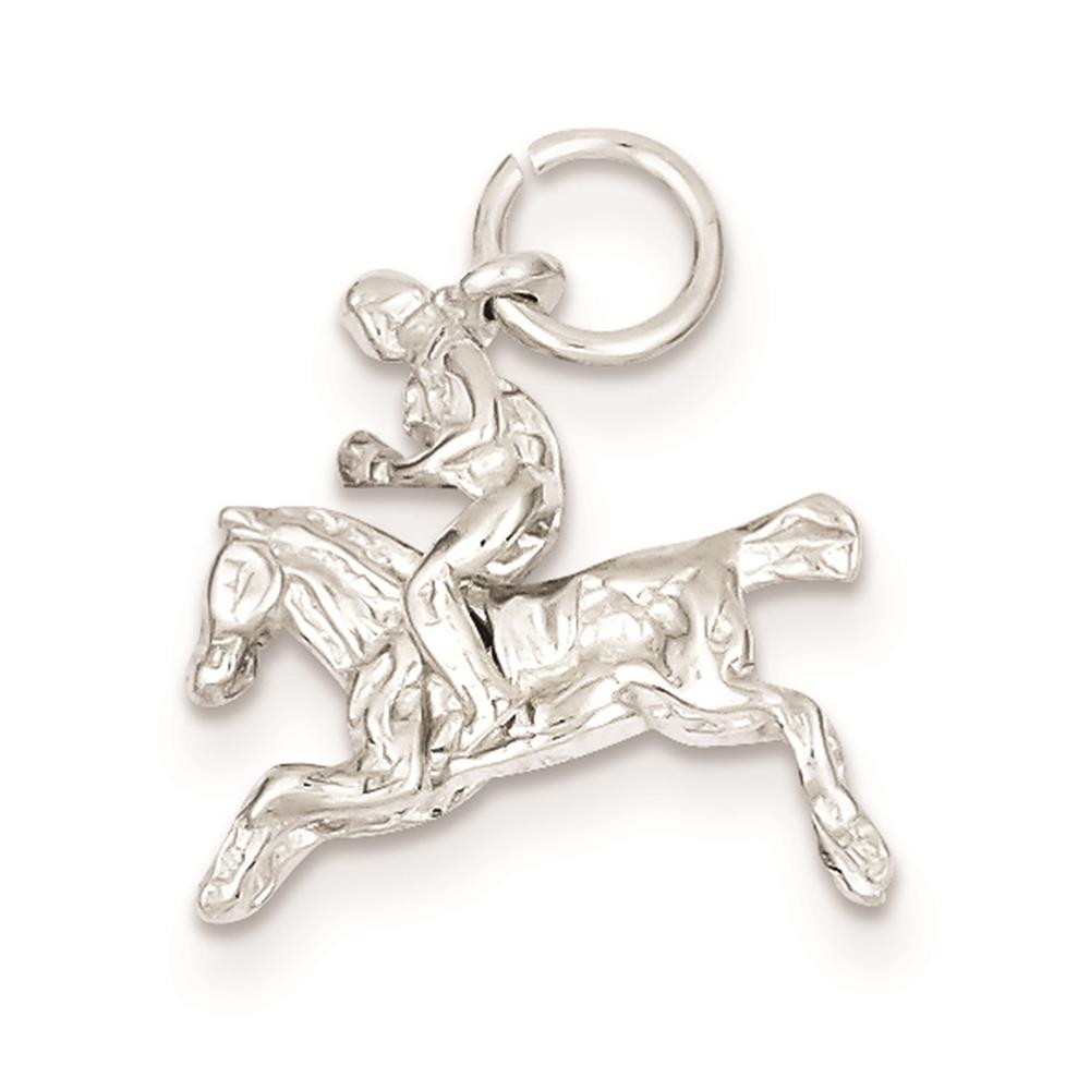 925 Sterling Silver 3-D Moveable Bronco Solid Charm Pendant 16mmx17mm