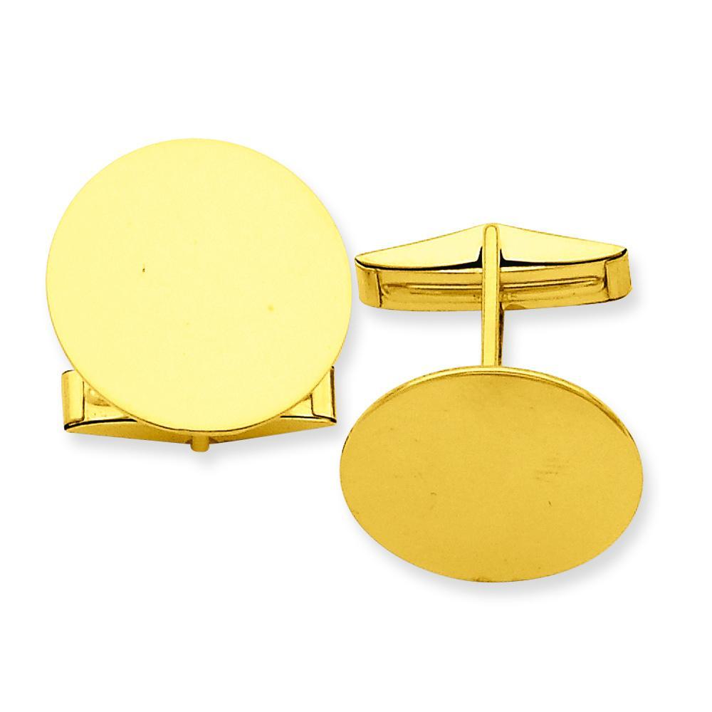 14K Gold Circular Cufflinks Mens Jewelry