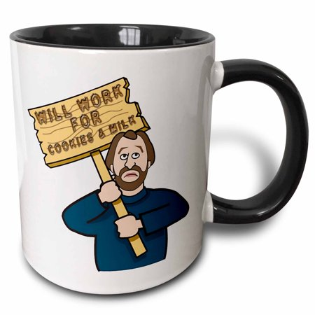 3dRose Funny Humorous Man Guy With A Sign Will Work For Cookies And Milk - Two Tone Black Mug, 11-ounce