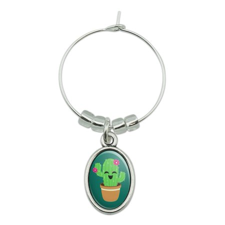 Cute Cactus in Pot with Pink Flowers Wine Glass Oval Charm Drink Marker ()