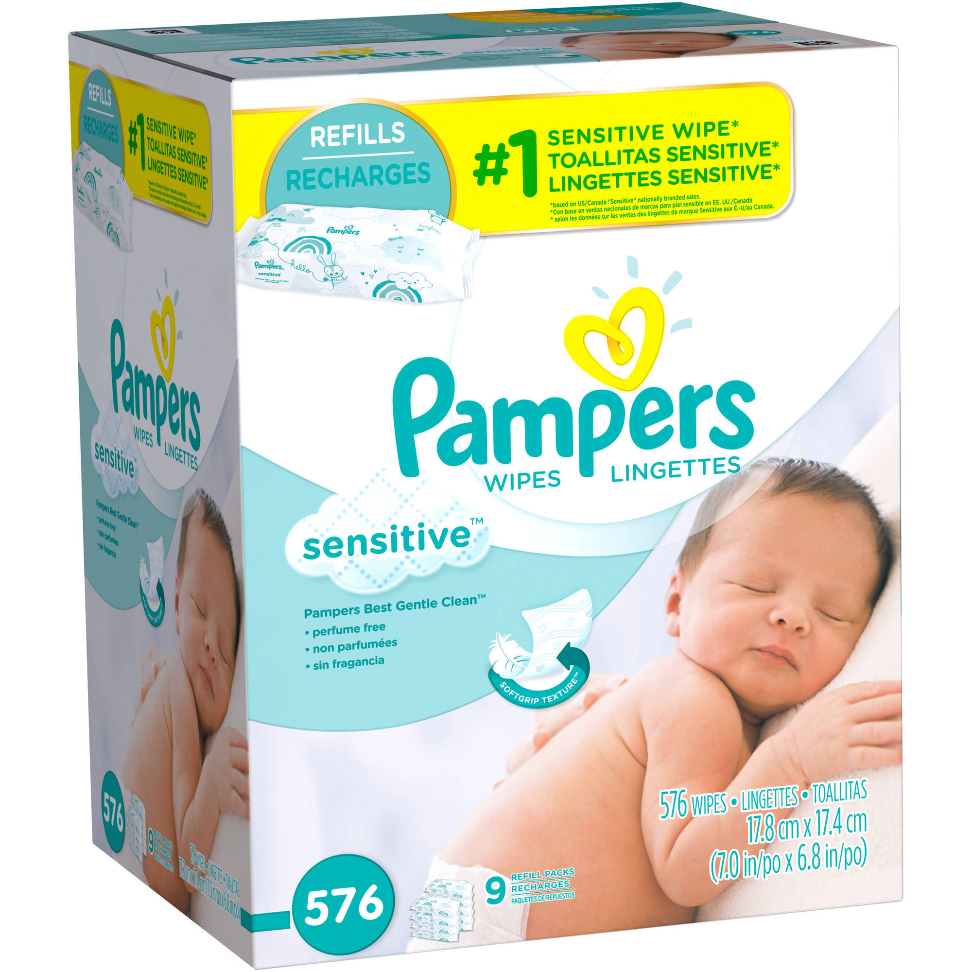 Pampers Sensitive Baby Wipes Refills, 576 sheets