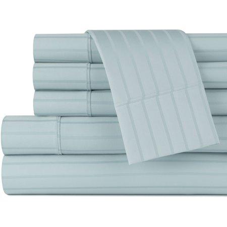 100% Cotton 420-Thread Count Dobby Stripe, 6 Piece Sheet Set (Beige Carrying Case)