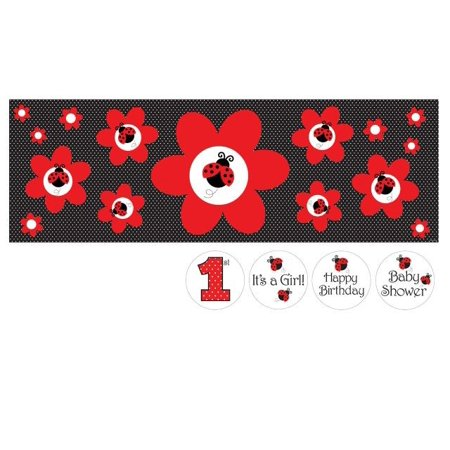 Ladybug Party Supplies (Access Ladybug Fancy Giant Party Banner With Stickers, 20