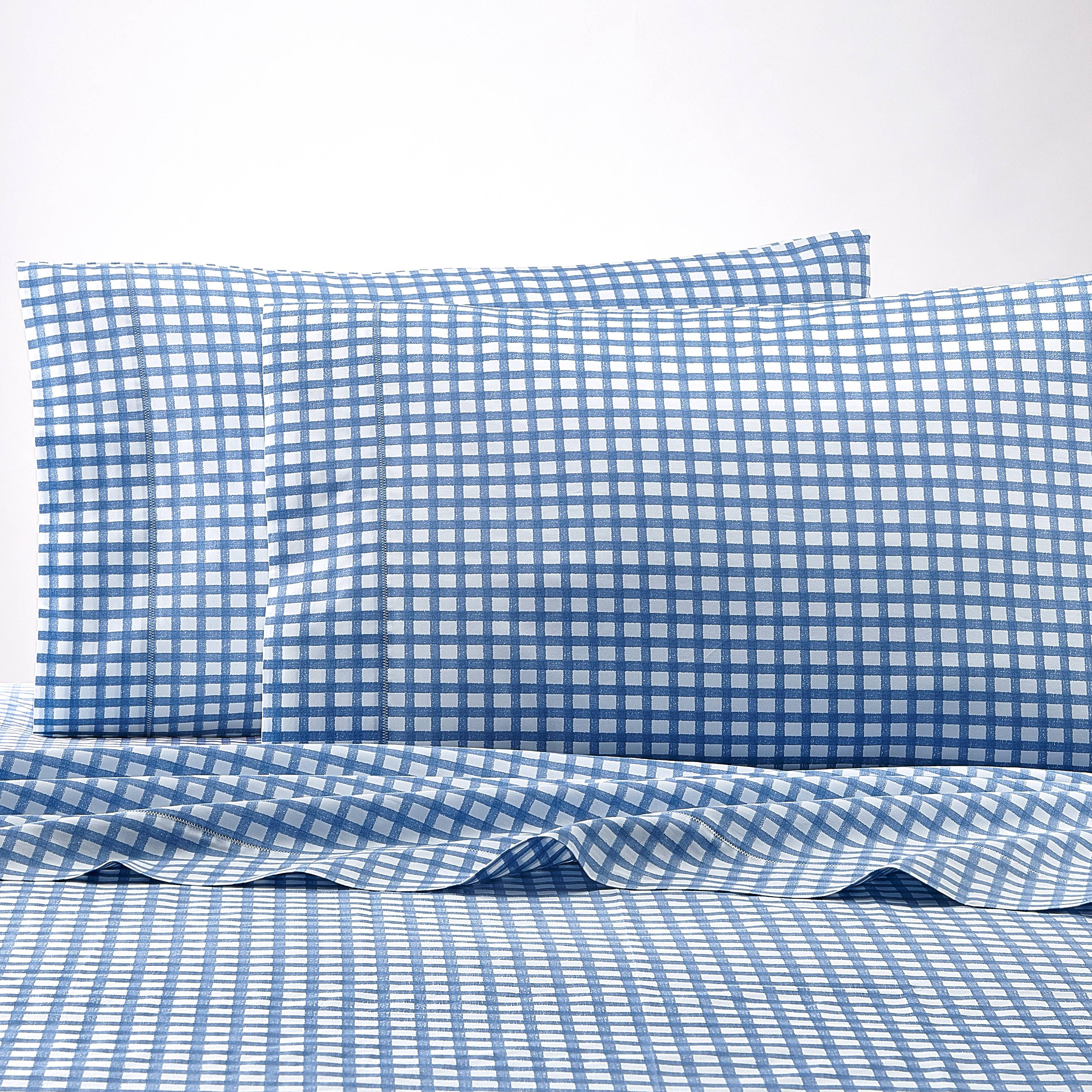Better Homes and Gardens 300- Thread- Count 100% Cotton Percale Classic Gingham Sheet Set