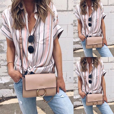 Fashion Womens Summer Loose Striped Pullover T Shirt Short Sleeve Cotton Tops Shirt Lady Blouse ()