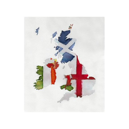 Map Of England 450 Ad.Watercolor Flag Map Of United Kingdom And Ireland Print Wall Art By Jennifer Maravillas