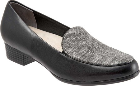 trotters women's monarch 8 slip-on loafer, black/white, 8 monarch w us 171969