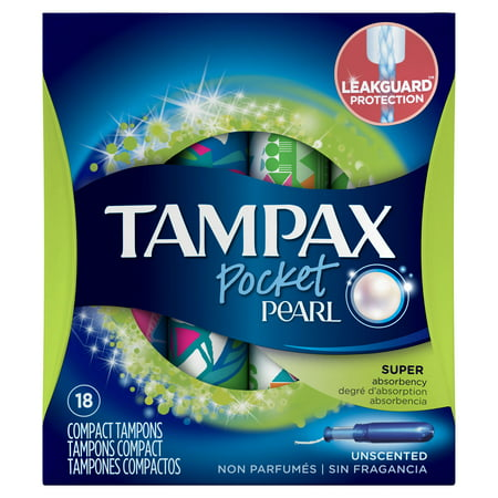 (Tampax Pocket Pearl Super Plastic Tampons, Unscented, 18 Count)