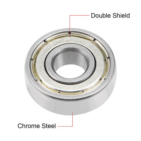 607ZZ Deep Groove Ball Bearing 7x19x6mm Double Shielded Chrome Bearings 5pcs - image 1 of 4