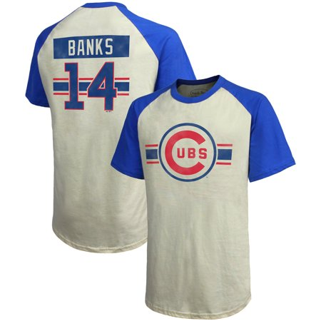 Ernie Banks Chicago Cubs Majestic Threads Cooperstown Collection Hard Hit Player Name & Number Raglan T-Shirt - -