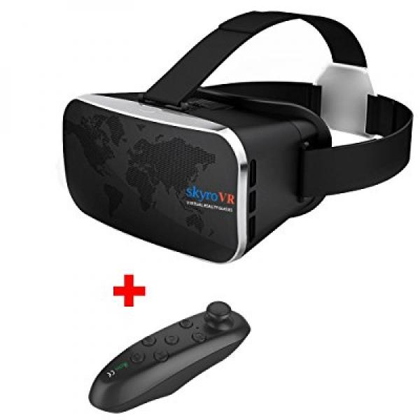 Virtual Reality Headset, Skyro VR Headset and 3D Video Glasses for VR Games and 3D Movie, Compatible with 4.0-6.3 Inch iPhone & Android, Headset with Remote