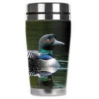 Mugzie brand 16-Ounce Stainless Steel Travel Mug with Insulated Wetsuit Cover - Loon