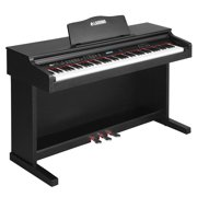 Uenjoy Music Electric Digital LCD Piano Keyboard W/Stand+Adapter+3-Pedal Board 88 Key Black