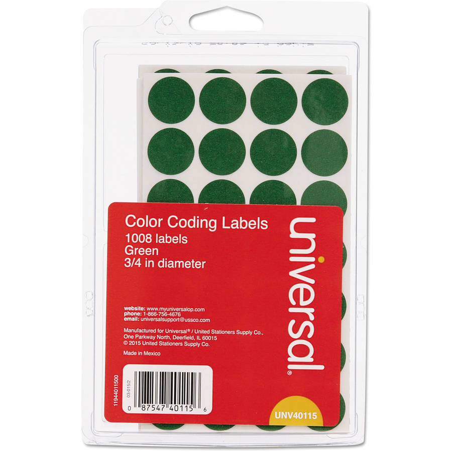 "Universal Permanent Self-Adhesive Color-Coding Labels, 3/4"" dia, Green, 1008 labels per pack"