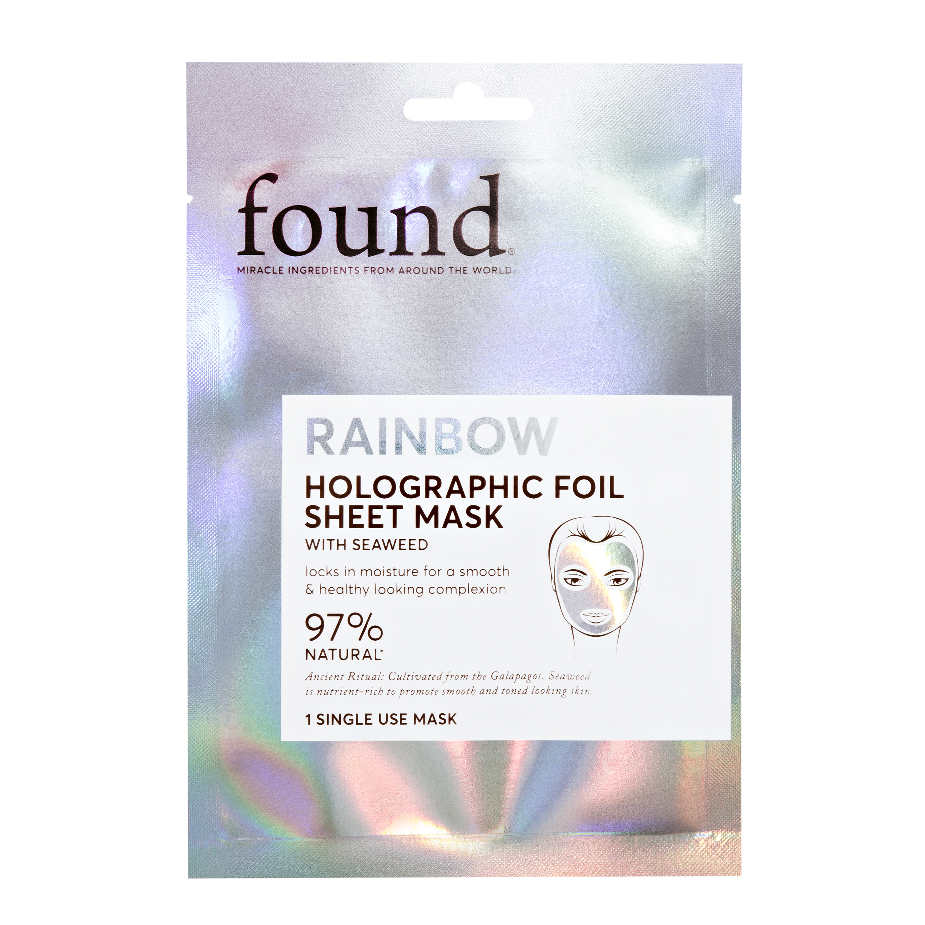 FND Rainbow Holographic Foil Sheet Mask with Seaweed, 1 Single use mask
