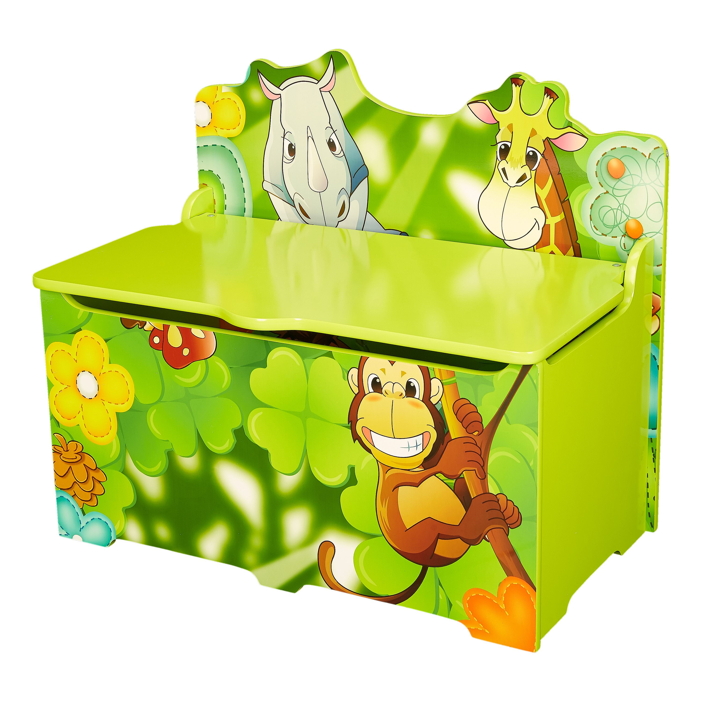 Senda Kid's Jungle Wooden Storage Toy Box with Lid
