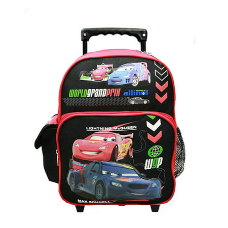 small rolling backpack disney cars 2 world grand prix red black new 50705. Black Bedroom Furniture Sets. Home Design Ideas