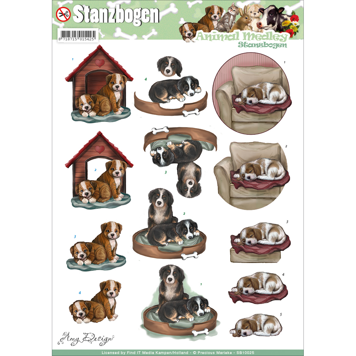 Find It Amy Design Animal Medley Punchout Sheet-Dogs