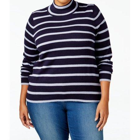 e8be159d4fa Melissa McCarthy Seven7 - Melissa McCarthy Seven7 NEW Blue Size 2X Plus  Mock Neck Striped Sweater - Walmart.com