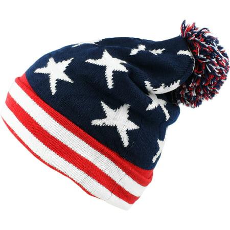 bogo Brands American Flag Pom-Pom Knit Beanie Hat Ski Cap - Walmart.com 99b332f59b8c