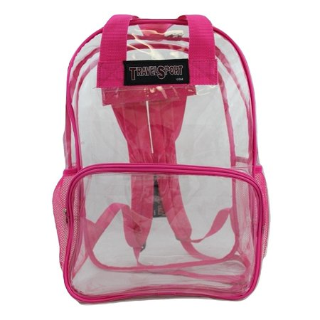 USA Transparent See Through Clear Vinyl PVC 17 Large School Backpack