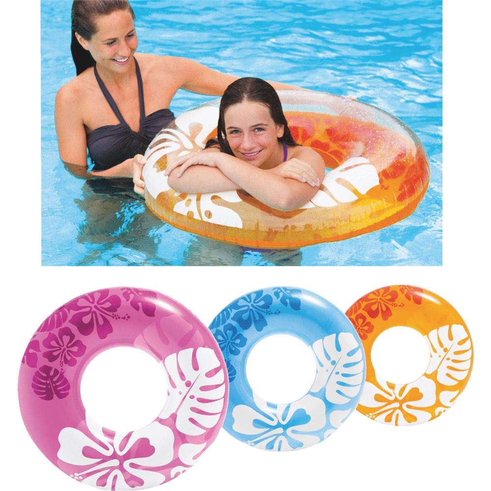 Intex Colorful Transparent Inflatable Swimming Pool Tube Raft | 59251EP