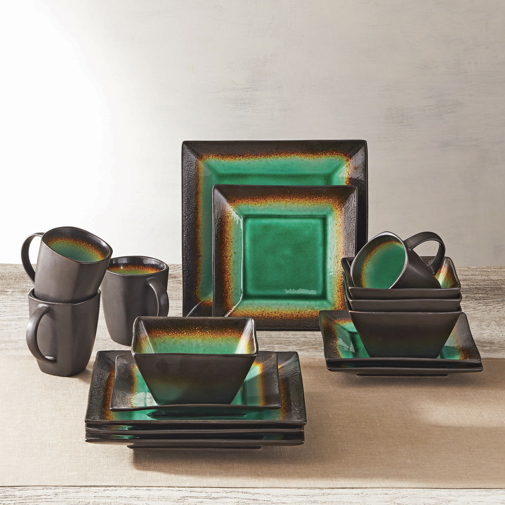 Better Homes and Gardens Jade Crackle 16-Piece Dinnerware Set & Better Homes and Gardens Jade Crackle 16-Piece Dinnerware Set ...