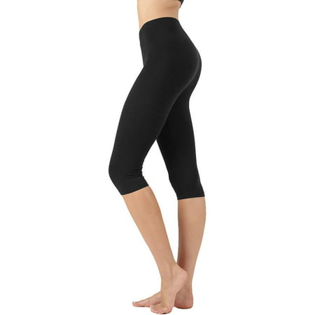 Womens High Waist Seamless Cotton Capri Leggings