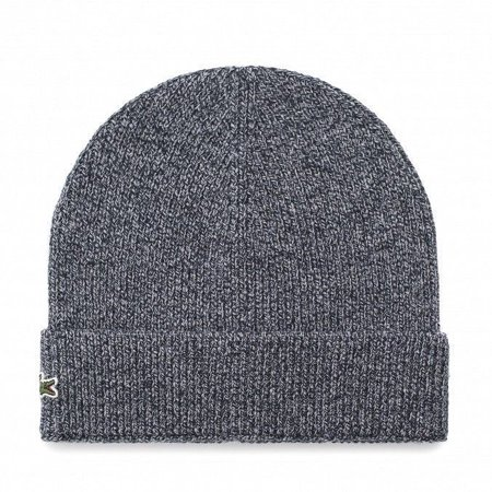BRAND NEW MEN'S LACOSTE (RB3502) TURNED EDGE RIBBED WOOL BLUE BEANIE HAT