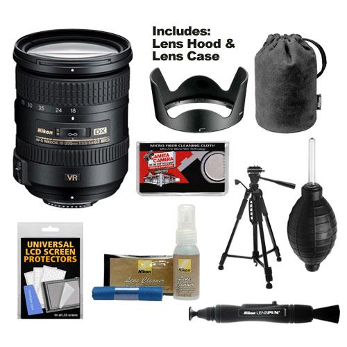 Nikon 18-200mm f/3.5-5.6G VR II DX ED AF-S Nikkor-Zoom Lens with Hood & Pouch Case + Tripod + Kit for D3200, D3300, D5300, D5500, D7100, D7200 Camera