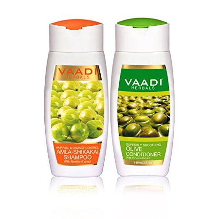 Vaadi Herbals Amla Shikakai Hair fall and Damage Control Shampoo, 110ml with Olive Conditioner,