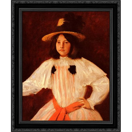 The Red Sash 20x24 Black Ornate Wood Framed Canvas Art by Chase, William Merritt