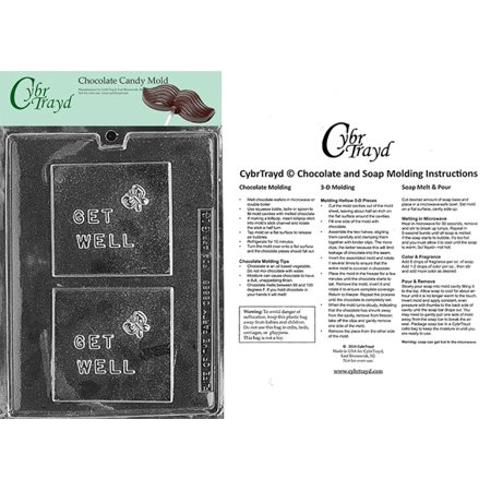 Cybrtrayd Life of the Party G016 Get Well Greeting Card Chocolate Candy Mold in Sealed Protective Poly Bag Imprinted with Copyrighted Cybrtrayd Molding Instructions Get Well Bag