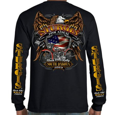 Biker Life 2019 Sturgis Black Hills Rally Rebel Rider Long Sleeve T-Shirt Long Sleeve Sturgis Shirt