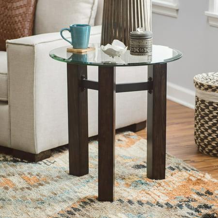 - Belham Living Hanover Glass & Wood End Table