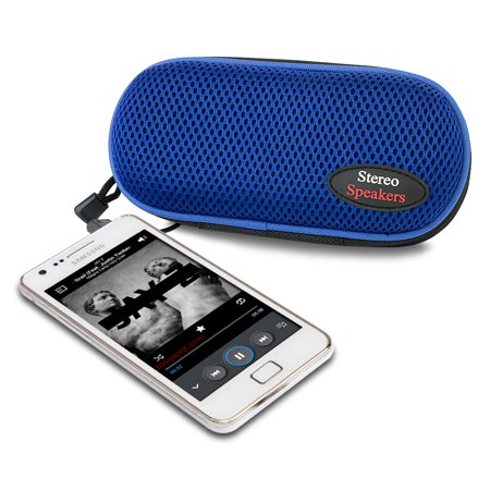 Sporty Nylon Portable Stereo Speaker (Blue)- XSDP -6084-8 - Don't become tethered to headphones with the Sporty Nylon Portable Stereo Speaker. With this speaker, you can plug in your audio - Speaker Switching Device