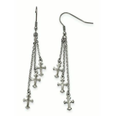 Stainless Steel Multi Strand Cross Dangle Shepherds Hook Earrings