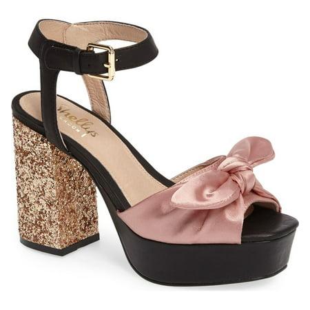 Knotted Platform - SHELLYS LONDON Deepali Blush Satin Knotted Glitter Chunky Rocker Platform Sandal (41)