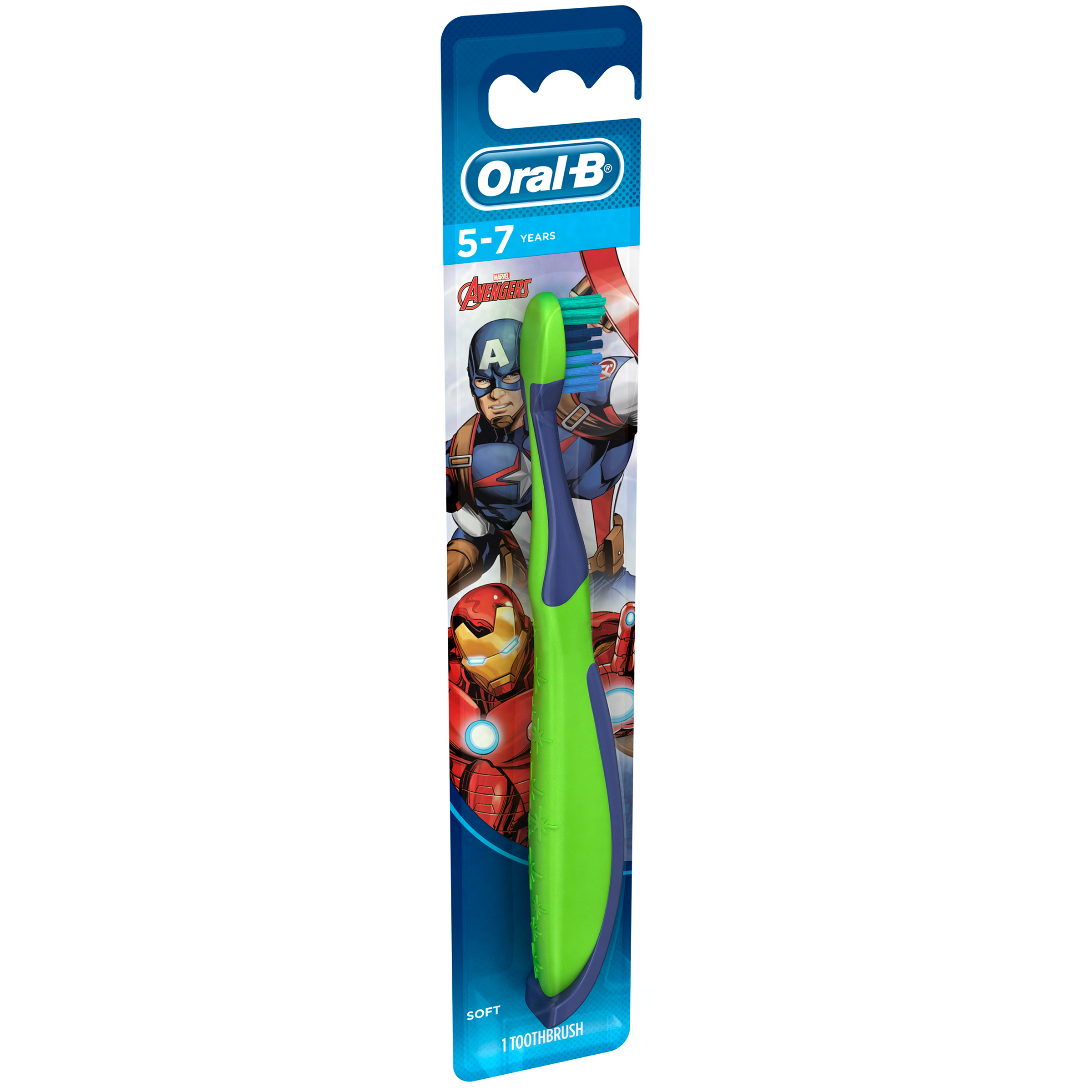 Oral-B Kid's Manual Toothbrush featuring Marvels Avengers, Soft Bristles, 1 count