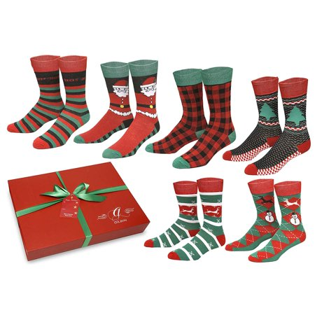 Gilbins 6 Pack Christmas Socks For Mens, Soft Stretchy Holiday Cool Casual Dress Socks, Size 10-13 With Gift (Sixers Holiday Packs)