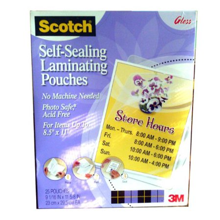Scotch Self Sealing Laminating Pouch   Letter   9 06   Width X 11 63   Length   Type G   Glossy   Acid Free  Self Sealing  Photo Safe   25   Pack   Clear  Ls85425g