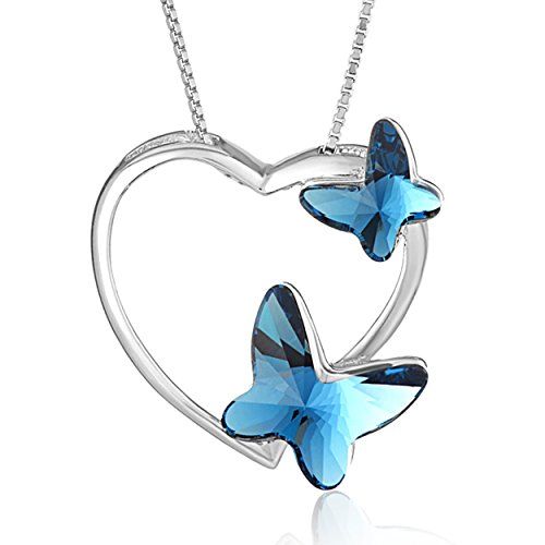 Heart Butterfly Sterling Silver Swarovski Elements Crystal Necklace / Pendant Women / Girls Jewelry