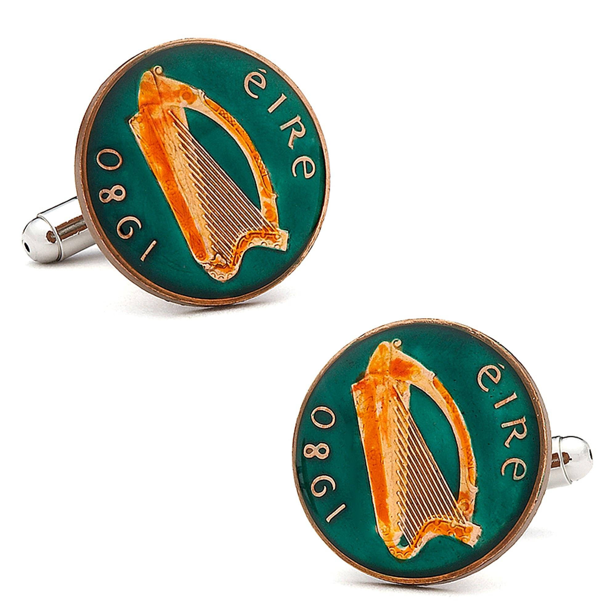 Penny Black 40 Mens Hand Painted Irish Eire Coin Cufflink...