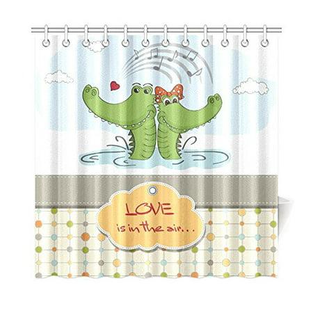 MKHERT Crocodiles In Love Shower Curtain Home Decor Bathroom 66x72 Inch