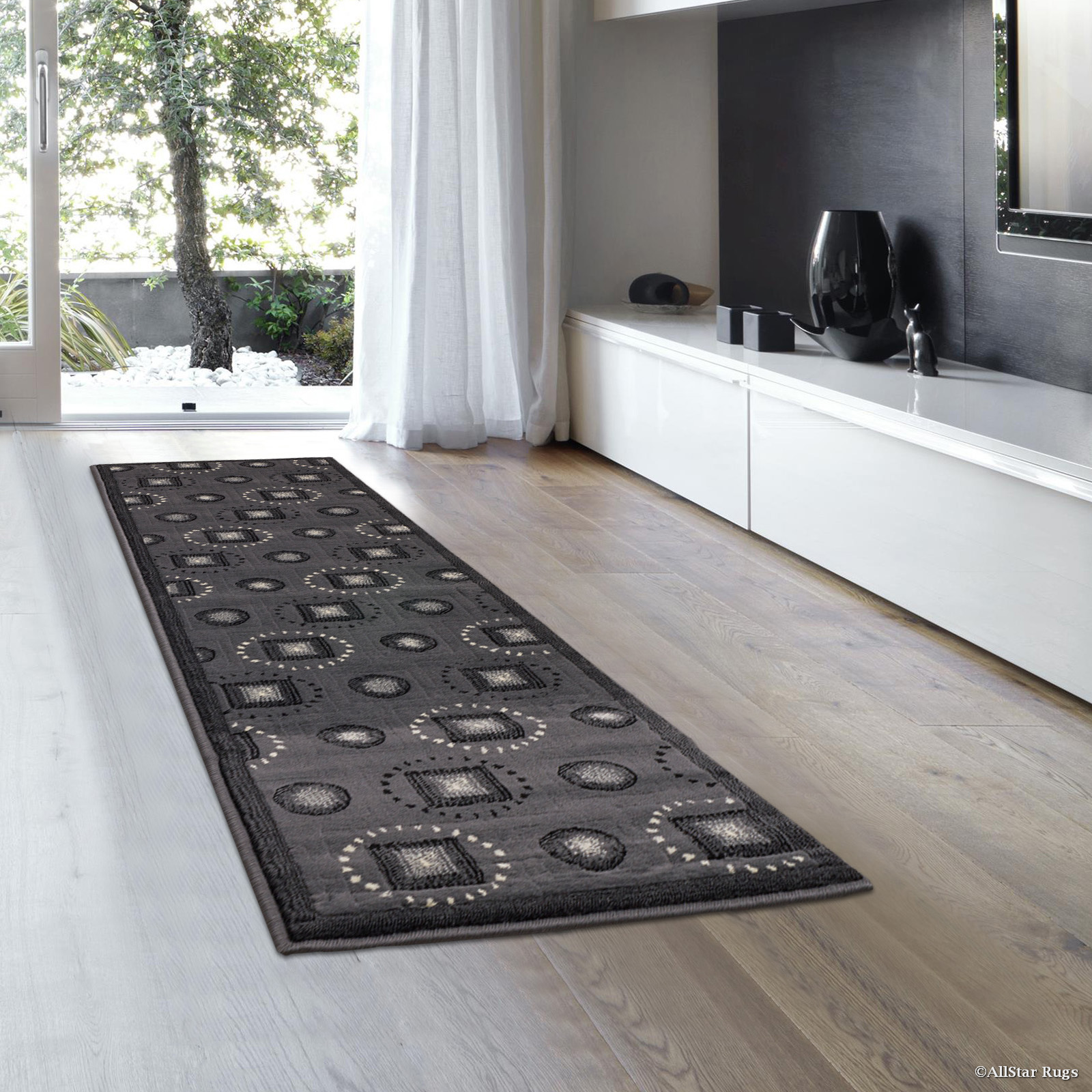 "Allstar Grey Abstract Modern Area Carpet Rug - Runner (2' 0"" x 7' 2"")"